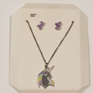 Unicorn Necklace and earring set.